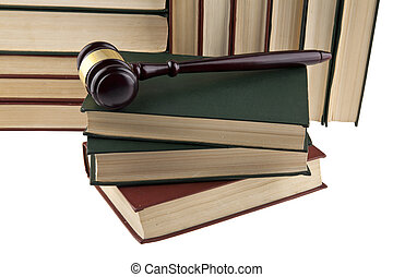 gros plan, bois, isolé, livres, fond, blanc, marteau