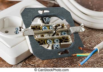 gros plan, câble, douille électrique