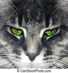 gros plan, cat., maine, vecteur, vert-examiné, nègre