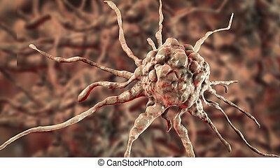 gros plan, cellule, cancer, vue