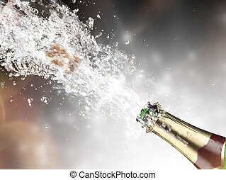 gros plan, champagne, explosion