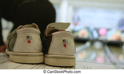 gros plan, chaussures, bowling