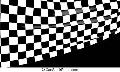 gros plan, checkered, drapeau ondulant, course, canal alpha