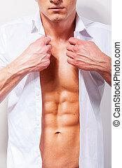 gros plan, chemise, shirt., jeune, musculaire, haut, assaisonnement, blanc, beau, homme