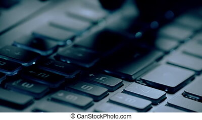 gros plan, clavier, ordinateur pc, dactylographie, action