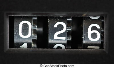 gros plan, compteur, nombre, joueur, bande cassettee