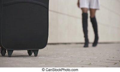 gros plan, concept, bagage, voyage, mince, bottes, élevé, ...