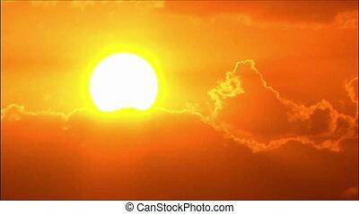 gros plan, coucher soleil