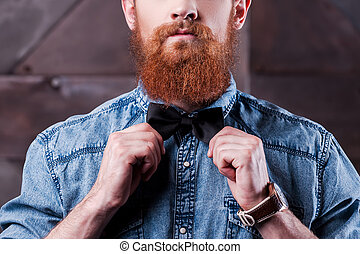 gros plan, détail, barbu, style., retro, jeune, important, homme, beau, cravate, ajustement, sien, arc