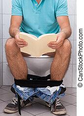 gros plan, de, a, homme, dans, toilette