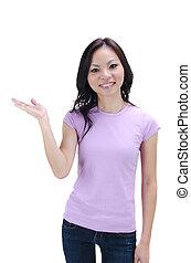 gros plan, de, a, jeune, femme asiatique, faire gestes