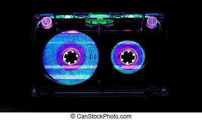 gros plan, de, a, musique, cassette