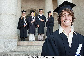 gros plan, de, a, sourire, diplômé