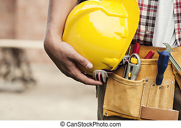 gros plan, de, chapeau dur, tenue, par, ouvrier construction