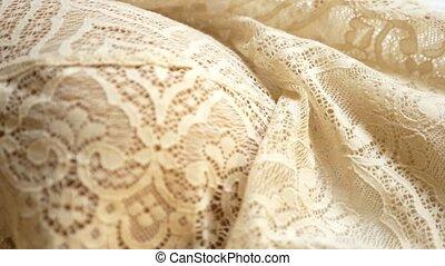 gros plan, dentelle, tissu, pattern., arrière-plan., beige, texture