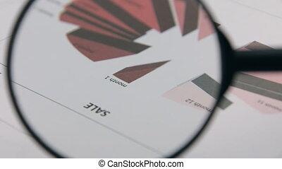 gros plan, diagram., verre., rotation, magnifier, rouges