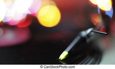 gros plan, dj, enregistrement, résumé, aiguille, joueur, coloré, lumières, fond