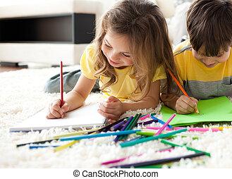 gros plan, enfants, dessin, mensonge, plancher