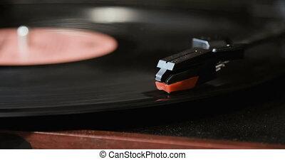 gros plan, enregistrement, aiguille, player., stylus, joueur, platine, vinyle, utilisation, jouer, antiquarian