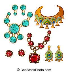 gros plan, ensemble, gemstones, coloré, colliers, isolé, arrière-plan., vecteur, boucles oreille, blanc, dessin animé, illustration.