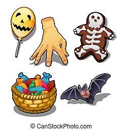 gros plan, ensemble, illustration., objets, halloween, magique, isolé, arrière-plan., vecteur, attributes, blanc, vacances, dessin animé