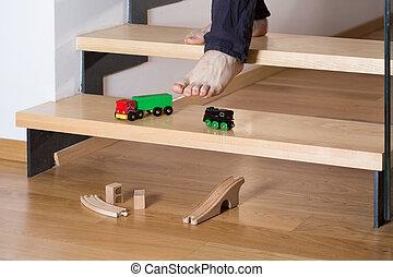 gros plan, escalier, jouets