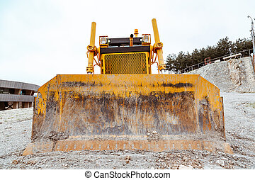 gros plan, excavateur, work., jaune, devant, pendant, vue.