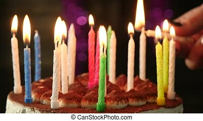 gros plan, femme, bougies, anniversaire, mouvement, lumières...
