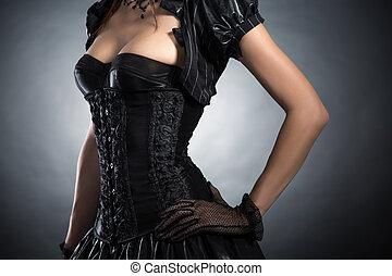 gros plan, femme, coup,  corset,  Style,  élégant, Victorien