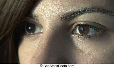 gros plan, femme, yeux