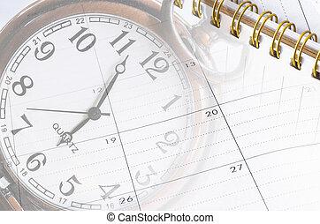 gros plan, feuille, horloge, jours, nombre, agenda,...