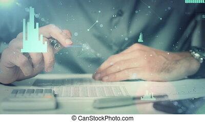 gros plan, financier, vérification, calculs, homme affaires, données