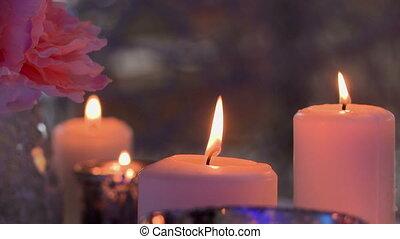 gros plan, flamme, scintiller, bougies