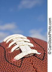 gros plan, football, américain, texture, dentelles