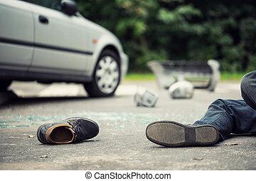 gros plan, fracas, fond, voiture, suivant, chaussure, victime, brouillé, mensonge