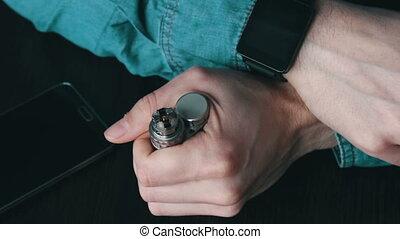 gros plan, fumées, atomiseur, démonté, cigarette, électronique, vue