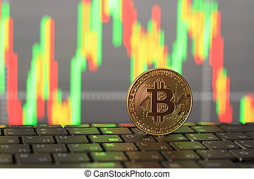 gros plan, graphique, bitcoin, croissance, automne, prix