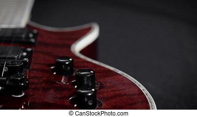 gros plan, guitar., électrique, extrême