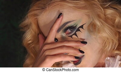 gros plan, halloween., figure, clair, maquillage, girl