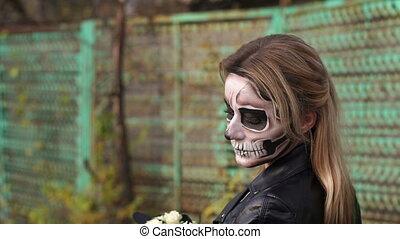 gros plan, halloween., terrifiant, gothique, make-up., portrait, girl, robe