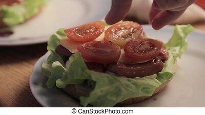 gros plan, hamburger, fait maison, délicieux, cuisine