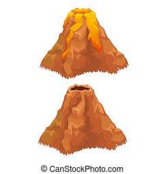 gros plan, illustration., éruption, isolé, arrière-plan., vecteur, volcan, blanc, dessin animé