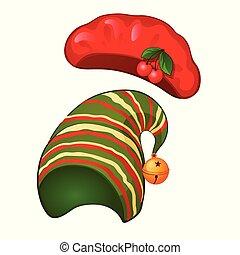 gros plan, illustration., casquette, isolé, béret, arrière-plan., blanc, vecteur, rayé, dessin animé, rouges
