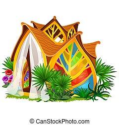 gros plan, illustration., formulaire, foyer verre, feuilles, taché, isolé, arrière-plan., vecteur, conception, blanc, dessin animé, exquis