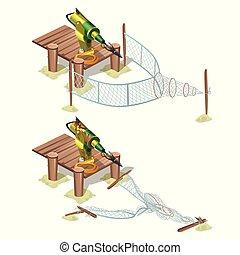 gros plan, illustration., isolé, arrière-plan., vecteur, piège, harpon, blanc, automatique, dessin animé