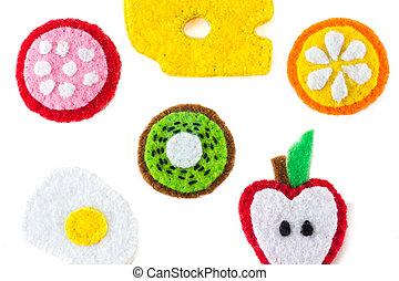 gros plan, jouet, formulaire, nourriture, métiers, fait main, feutre, fait, broderie, fruits