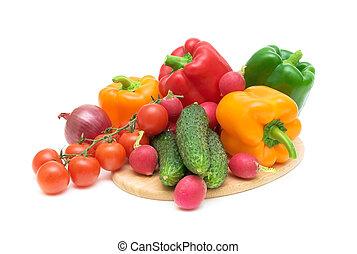 gros plan, légumes coupe, planche
