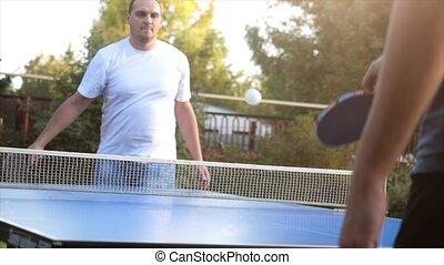 gros plan, lent, yard, mouvement, tennis, ensoleillé, battements, day., extérieur, jeu, balles, 4k, table, 3840x2160, jouer, homme