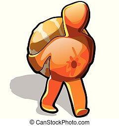 gros plan, lui-même, illustration., isolé, arrière-plan., porte, vecteur, mandarin, blanc, dessin animé