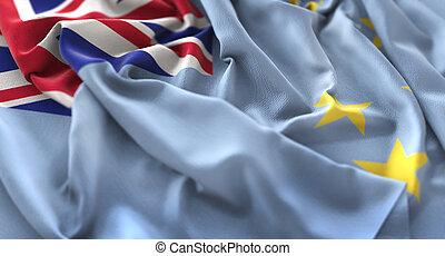 gros plan, macro, coup, a froissé, tuvalu, drapeau ondulant, beautifully
